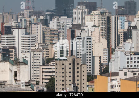 Elevated view from rooftop of downtown Sao Paulo shows cityscape of skyscrapers and buildings on July 5, 2018 in Sao Paulo, Brazil. - Stock Photo
