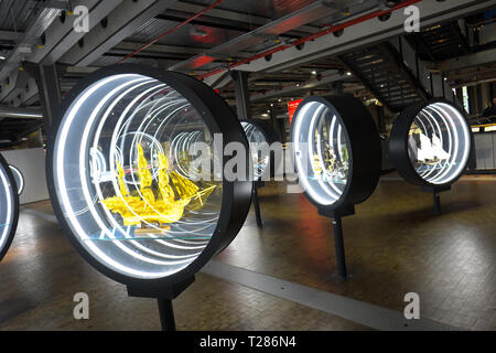 Berlin Germany - Deutsches Technikmuseum includes exhibits relating to transport including shipping - Stock Photo