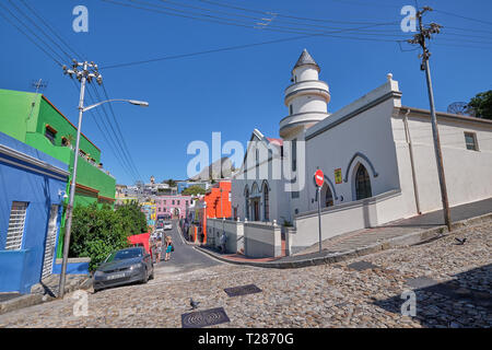 Mosque and colorful houses and streets of Bo Kaap, with Lion's head in background. Cape Town, South Africa, March 21, 2019. - Stock Photo