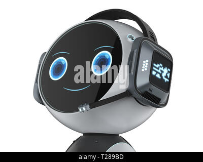 Automation customer service concept with 3d rendering robot with headset - Stock Photo