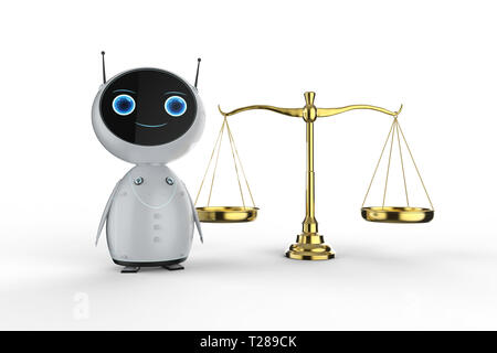 Cyber law concept with 3d rendering friendly robot with law scale on white background - Stock Photo