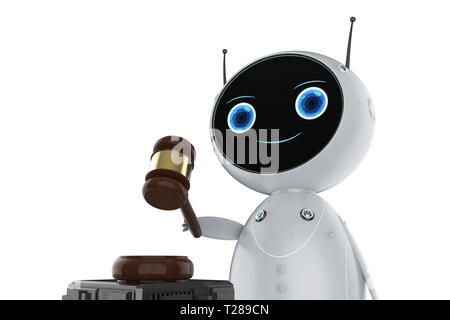 cyber law concept with 3d rendering friendly robot holding gavel judge on white background - Stock Photo