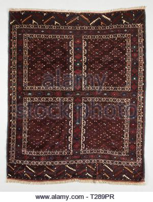 Door Rug (Ensi), c. 1900. Turkmenistan, Yomud, 19th century. Knotted pile, asymmetrical knot, 117 knots psi; wool; overall: 183 x 142 cm (72 1/16 x 55 7/8 in.). - Stock Photo