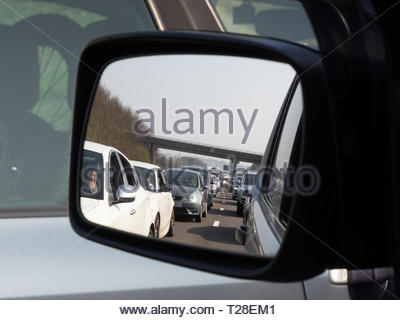 Cars and lorries at total gridlock on the M1 Motorway - Stock Photo