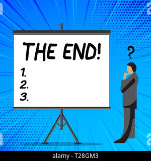 Word writing text The End. Business photo showcasing Conclusion of time for something ending of life Businessman with Question Mark Above his Head Sta - Stock Photo