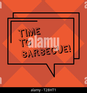 Handwriting text Time To Barbecue. Conceptual photo Relaxing cooking meat chicken pork on grill Summer activity Rectangular Outline Transparent Comic  - Stock Photo