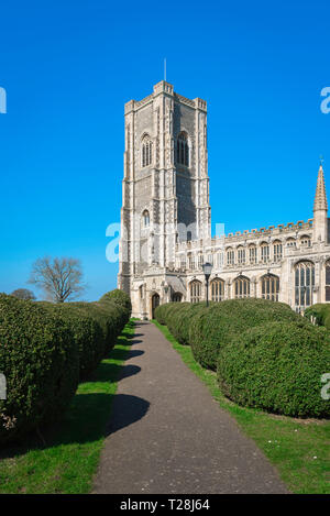 Lavenham Church, view of the 43m tower of the late medieval (1525) Church of St Peter & St Paul in the Suffolk village of Lavenham, England, UK. - Stock Photo