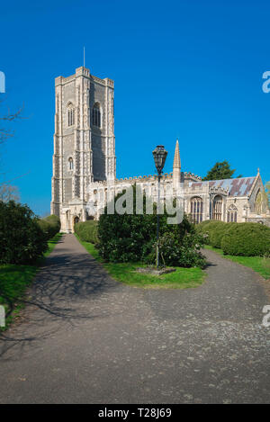 Lavenham Church, view of the late medieval (1525) Church of St Peter & St Paul in the Suffolk village of Lavenham, England, UK. - Stock Photo