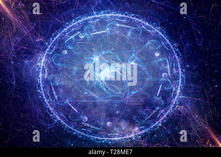 Abstract artistic foggy round field of energy on a multicolored background - Stock Photo