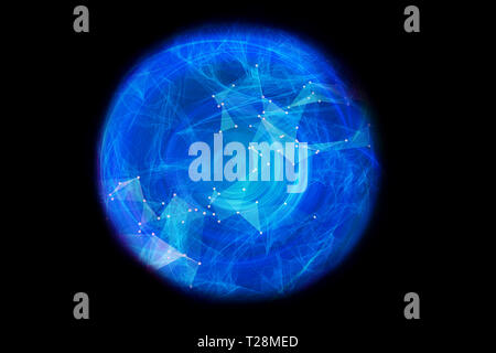 abstract connected network of energy in an energy field on a black background - Stock Photo