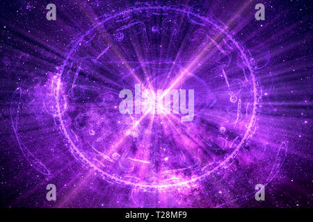 Abstract artistic multicolored connected network of energy with a glowing center background - Stock Photo