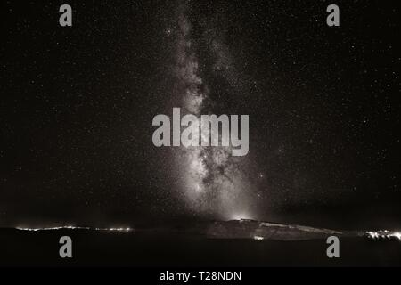 Santorini island with milkyway at night in Greece. - Stock Photo