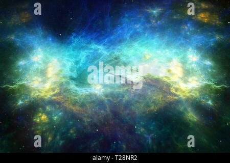 abstract artistic dramatic artwork on a multicolored energy field background - Stock Photo