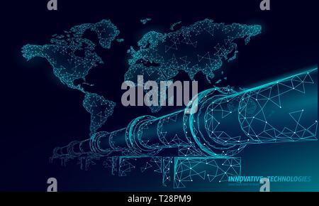Oil pipeline world map business concept. Finance economy polygonal petrol production. Petroleum fuel industry transportation line connection dots blue - Stock Photo