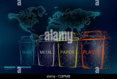 Low poly waste separation world map concept. Garbage recycle plastic aluminium paper glass container bin. Polygonal ecological save planet campaign - Stock Photo