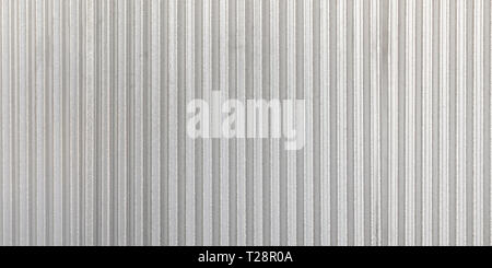 The corrugated grey metal panorama wall background. Rusty zinc grunge texture and background. - Stock Photo