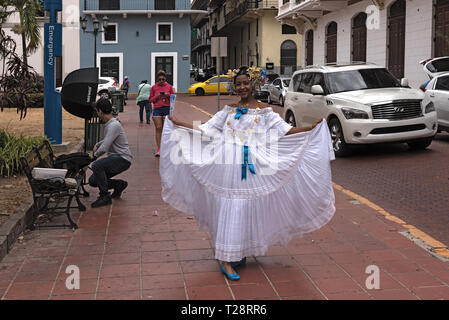 young woman in traditional clothes in the old town casco viejo of panama city, panama - Stock Photo