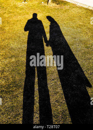 shadow of a man and a woman in love holding hands in a garden. - Stock Photo