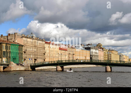 Krasnoarmeisky bridge over Fontanka in autumn. Saint-Petersburg, Russia - Stock Photo