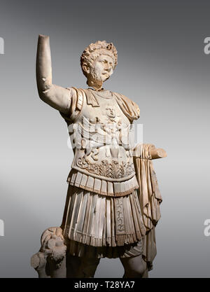 Roman statue of Emperor Trajan . Marble. Perge. 2nd century AD. Inv no . Antalya Archaeology Museum; Turkey. - Stock Photo