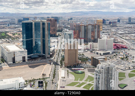 Bird's Eye View of the Las Vegas Strip During the Day from the Stratosphere Hotel & Tower - Stock Photo