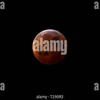 Blood moon during total lunar eclipse - Stock Photo