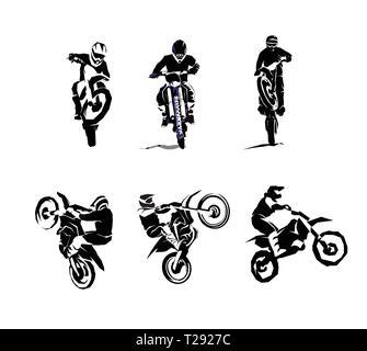 Extreme bike big vector set 6x, motocross - Stock Photo