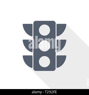 traffic lights web icon, flat design vector illustration - Stock Photo