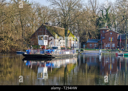 Berlin, Germany - February 9, 2018: Car ferry transporting students from the boarding school on the Island Scharfenberg  in Tegeler See to the mainlan - Stock Photo