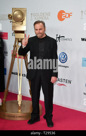 Berlin, Germany. 30th Mar, 2019. Franco Nero, Italian actor, at the Golden Camera Awards. The gala will take place in Berlin's disused Tempelhof Airport. Credit: Jens Kalaene/dpa/Alamy Live News - Stock Photo