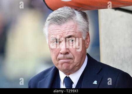 Rome, Italy. 31st Mar, 2019. Carlo Ancelotti manager of Napoli during the Serie A match between Roma and Napoli at Stadio Olimpico, Rome, Italy on 31 March 2019. Photo by Giuseppe Maffia. Credit: UK Sports Pics Ltd/Alamy Live News - Stock Photo