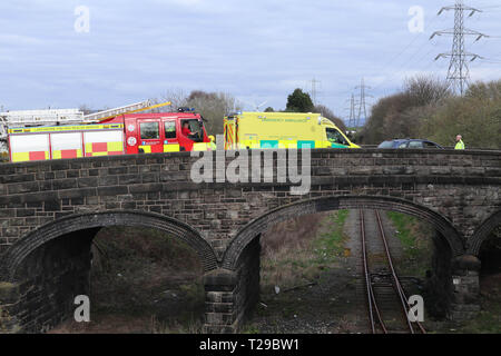 Heysham, UK. 31st March 2019 (UPDATED) Units of Lancashire Police, The Civil Nuclear Constabulary, Lancashire Fire and Rescue Service North West Ammbulanc and the Great North AIr Ambulance attende a Road Traffic Accident in Heysham at around 16:00 on Sunday at the junction of Rothersay Road and Money Close Lane in the shadow of the Nuclear Power station. Lancashire FRS confirmed that 'Firefighters used cutting equipment to release two casualties who were later taken to hospital.' Credit: Photographing_North/Alamy Live News - Stock Photo