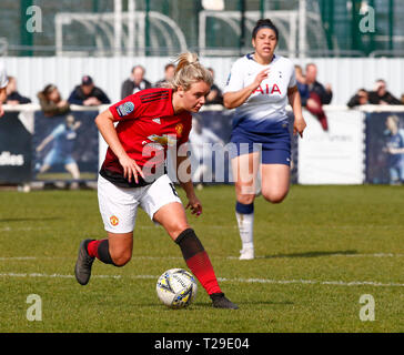Cheshunt, UK. 31st Mar, 2019. Mollie Green of Manchester United Women during The FA Women's Championship match between Tottenham Hotspur Ladies and Manchester United Women at The Stadium, Cheshunt FC, Cheshunt, UK on 31 Mar 2019. Credit: Action Foto Sport/Alamy Live News - Stock Photo