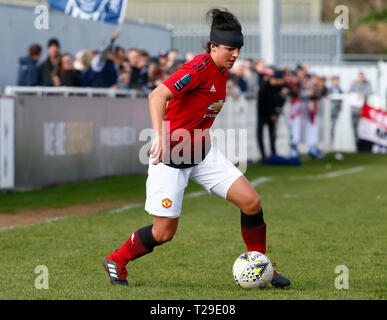 Cheshunt, UK. 31st Mar, 2019. Jess Sigsworth of Manchester United Women during The FA Women's Championship match between Tottenham Hotspur Ladies and Manchester United Women at The Stadium, Cheshunt FC, Cheshunt, UK on 31 Mar 2019. Credit: Action Foto Sport/Alamy Live News - Stock Photo