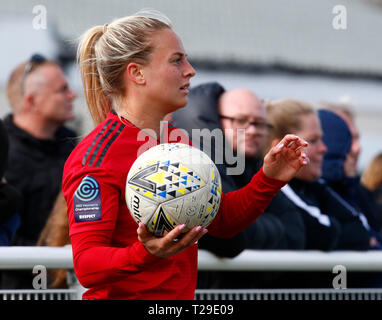 Cheshunt, UK. 31st Mar, 2019. Kirsty Smith of Manchester United Women during The FA Women's Championship match between Tottenham Hotspur Ladies and Manchester United Women at The Stadium, Cheshunt FC, Cheshunt, UK on 31 Mar 2019. Credit: Action Foto Sport/Alamy Live News - Stock Photo
