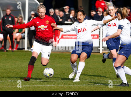 Cheshunt, UK. 31st Mar, 2019. Leah Galton of Manchester United Women during The FA Women's Championship match between Tottenham Hotspur Ladies and Manchester United Women at The Stadium, Cheshunt FC, Cheshunt, UK on 31 Mar 2019. Credit: Action Foto Sport/Alamy Live News - Stock Photo