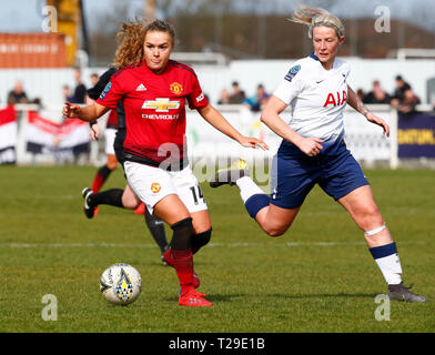 Cheshunt, UK. 31st Mar, 2019. Charlie Devlin of Manchester United Women during The FA Women's Championship match between Tottenham Hotspur Ladies and Manchester United Women at The Stadium, Cheshunt FC, Cheshunt, UK on 31 Mar 2019. Credit: Action Foto Sport/Alamy Live News - Stock Photo