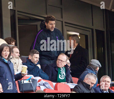 Liverpool. 1st Apr, 2019. Tottenham Hotspur's manager Mauricio Pochettino takes his seat in the stands during the English Premier League match between Liverpool and Tottenham Hotspur at Anfield in Liverpool, Britain, on March 31, 2019. Liverpool won 2-1. Credit: Xinhua/Alamy Live News - Stock Photo