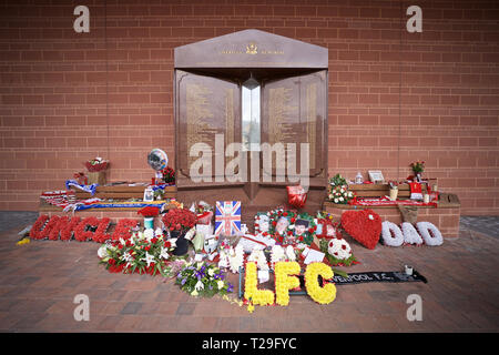 Liverpool. 1st Apr, 2019. The Hillsborough memorial, a tribute to the 96 victims of the Hillsborough Stadium Disaster, is pictured before the English Premier League match between Liverpool and Tottenham Hotspur at Anfield in Liverpool, Britain, on March 31, 2019. Liverpool won 2-1. Credit: Xinhua/Alamy Live News - Stock Photo