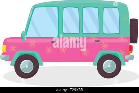Pink , Green Colored Modern Car with Flowers Pattern Isolated on White Background. Side View of Comfortable Hatchback Automobile for Family Traveling. - Stock Photo