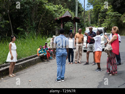 Tourists are taken to a viewpoint to see the famous Pitons in St Lucia, A Caribbean Island - Stock Photo