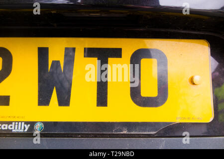 Car number registration plate which includes the letters WTO which could stand for world trade organisation. (106) - Stock Photo