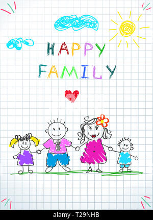 Happy Family Holding Hands Baby Drawing on Checkered Sheet. Doodle Picture of Mother, Father, Daughter and Son Stand on Grass under Clouds and Sun. Ki - Stock Photo