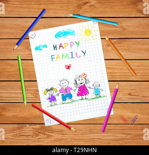 Young Parents Holding Hands of Children. Happy Family Day Greeting Card on Wooden Table Background with Colored Pencils Around. Doodle Style. Baby Dra - Stock Photo