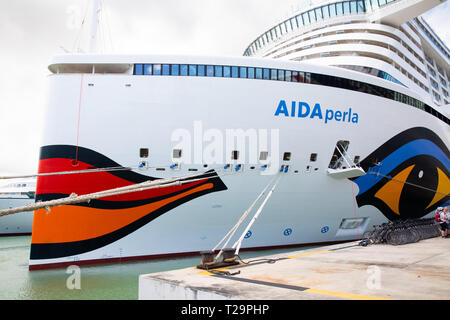 Aida Perla Cruise ship moored in St Kitts in the Caribbean - Stock Photo