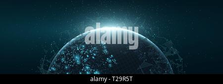 Futuristic Planet Earth. World map of glowing square dots. Modern abstract background. Space composition. Web banner. Global network connection. Vecto - Stock Photo