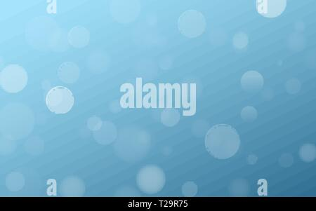 Light effect blue glares bokeh. Abstract lights bokeh on blue background. Blue gradient. Blurred lights. Snowfall effect. Random blurry spots. Vector  - Stock Photo