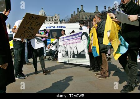 LONDON, UNITED KINGDOM. 29th March 2019, Protesters outside the Houses of Parliament, Westminster to highlight the plight of Turkish Political Prisoner Leyla Guven who is currently on hunger strike in Turkey. © Martin Foskett/Knelstrom Ltd/Alamy Live News - Stock Photo