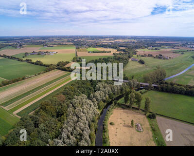 Aerial image of the Niederrhein landscape in the west of Germany - Stock Photo