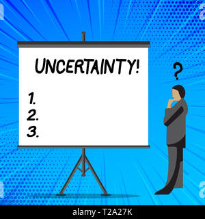 Word writing text Uncertainty. Business photo showcasing Unpredictability of certain situations events behavior Businessman with Question Mark Above h - Stock Photo